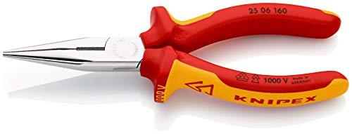KNIPEX 25 06 160 Flachrundzange mit Schneide Radiozange verchromt isoliert mit Mehrkomponenten-Hüllen, VDE-geprüft 160 mm