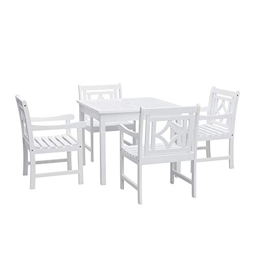 Vifah V1841SET7 Bradley Outdoor 5-Piece Wood Patio Stacking Table Dining Set, White