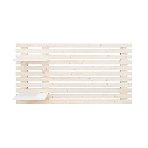 Decowood - Cabecero para Cama de Dormitorio, con Listones y 2 Estantes, Madera de Abeto Natural - 122 x 60 cm