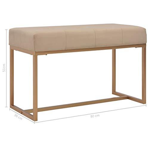vidaXL Banco Asiento Silla Sillón Taburete Banquillo Mueble Mobiliario de Hogar Salón Cocina Bar Casa Patio 80 cm Terciopelo Beige