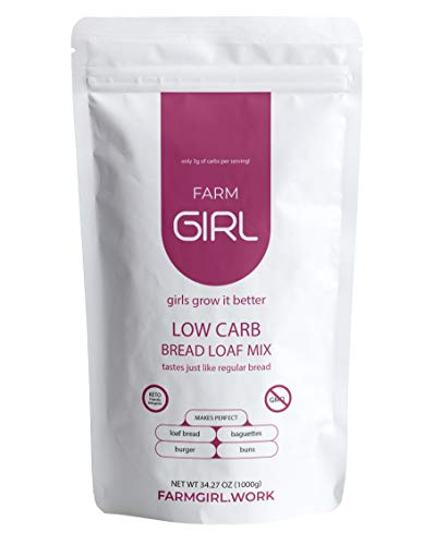 Farm Girl Low Carb Bread Mix - Keto Bread Mix For Healthy Snacks - Paleo & Keto Friendly Quick Baking Mix for White Breads & Buns - Non-GMO Baking Mixes for Oven & Bread Maker Machine 12oz Flour