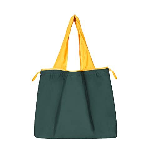 Hou zakka エコバック 折り畳みか買い物袋 絞り紐あり レジ有料化対策  軽く 大容量  丈夫 持ち歩きやすい  コンパクト エコバッグ Lサイズ 手頃価格で使い易い 買い物 旅行 家庭収納に適応 (GREEN)