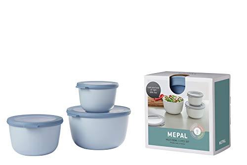 Mepal Multischüssel-Set Cirqula 3-teilig – Nordic Blue – hoch und rund –Inhalt: 500, 1000, 2000 ml – bruchfestes Material - auslaufsicher – tiefkühlgeeignet - spülmaschinengeeignet