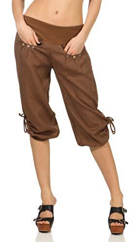 malito dames Capri broek uit linnen | Stoffen broek in effen kleuren | Vrijetijdsbroek voor het strand | Chino - korte broek 6302