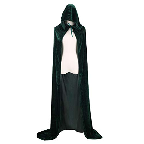 Beaums Disfraces de Halloween Hombres de Las Mujeres Capa con Capucha Adulto Bruja Partido vacacionales de Larga Negro Capas Capes Capucha