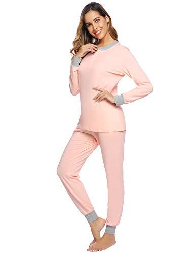 Aibrou Pijamas Mujer Invierno de Algodón Mangas Larga