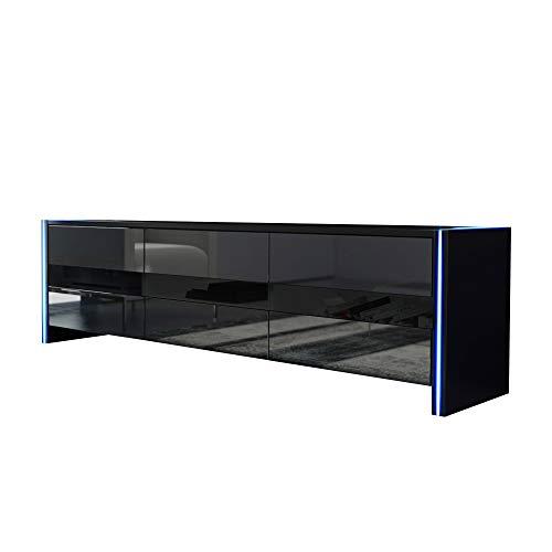TV Schrank Lowboard Sideboard SKY (schwarz matt / schwarz hochglanz mit LED)