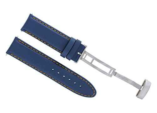 18-19-20-22-24MM Genuine Leather Watch Strap Smooth Band Clasp for Corum Blue #8