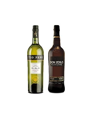 Vino palomino Fino Tío Pepe de 75 cl y Vino Fino Don Zolio de 75 cl - Mezclanza Exclusiva