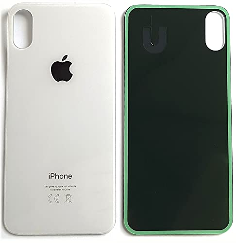 Cristal trasero para iPhone X en color blanco y plateado con orificio...