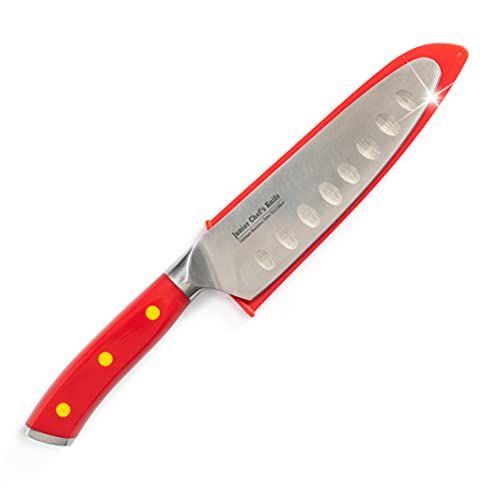 Kids Chef Knife - Junior Chef's Knife for Kids - (CRIMSON RED) Full Tang, Tapered Demi-Bolster Design, German Stainless Steel: 4 Color Choices - Progressive Cooking Tools for Children