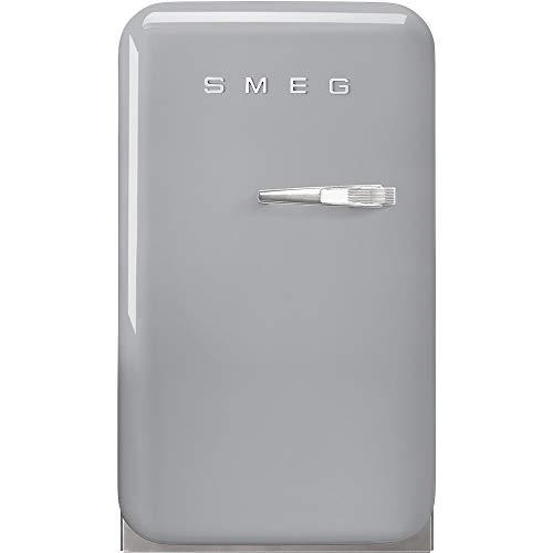 Smeg 50er Jahre Minibar. Statischer Kühlschrank, interne LED-Beleuchtung. Reißverschlüsse links