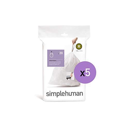 simplehuman Code R, 10 Liter / 2.6 Gallon Custom Fit Drawstring Trash Bags, 100 Liners, White