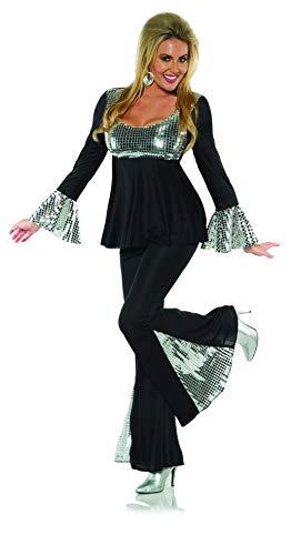 UNDERWRAPS Damen Women's 2-Piece-Disco 70's Costume Kostüme für Erwachsene, schwarz/Silber, Large