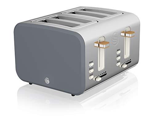 Swan ST14620GRYN, 4 Slice Nordic Toaster, 1500W, Slate Grey