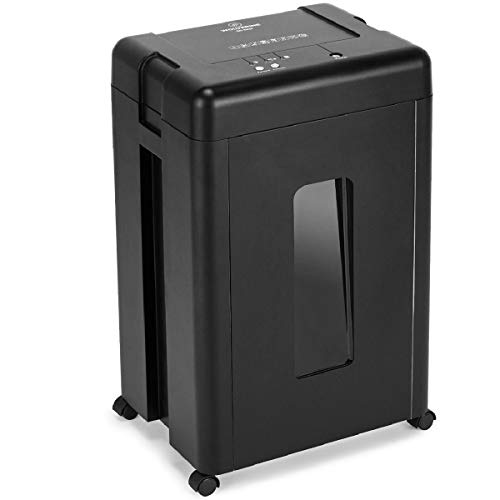 WOLVERINE 15-Sheet Super Micro Cut High Security Level P-5 Heavy Duty Paper/CD/Card Shredder for Home Office, Ultra Quiet by Manganese-Steel Cutter and 8 Gallons Pullout Waste Bin SD9520 (Black ETL)