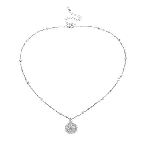 Onefeart Placcato in Oro Bianco Collana Pendente per Donne Dodici Costellazionis Forma Design personalità alla Moda 1.5CMx48CM Acquario Argento