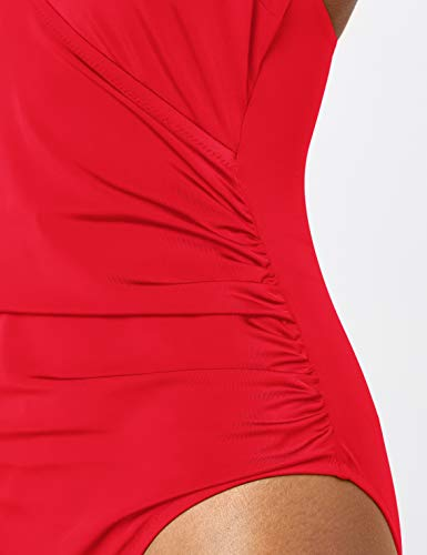 Marca Amazon - IRIS & LILLY Bañador Moldeador Mujer, Multicolor (rojo)., XL, Label: XL