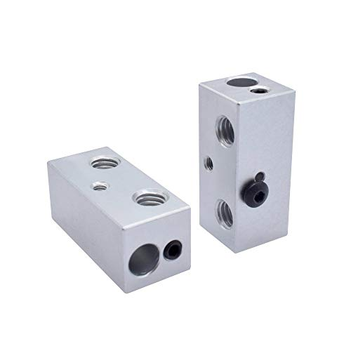 YIJIABINGRU 1/2pcs 3D printer 2 in 1 out aluminum Multi Color Extruder throat fixed Heating heat block for I3 Printer (Size : 2pcs)