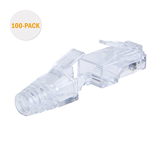 CableCreation 100-PACK Cat 6 RJ45 Connector Modular Plug with Strain Relief Boots, Transparent