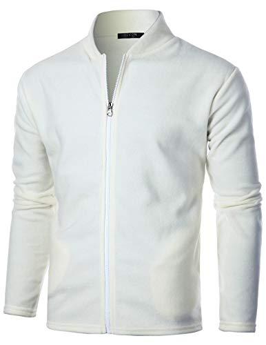 GIVON Mens Slim Fit Long Sleeve Lightweight Polar Fleece Zip-up Cardigan/DCF139-IVORY-M
