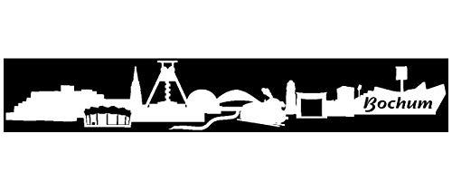 Samunshi® Autoaufkleber Bochum Aufkleber Skyline in 7 Größen und 25 Farben (15x2,4cm weiß)