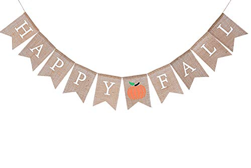 WAOUH Happy Fall Pumpkin Burlap Banner – Autumn Garland for Rustic Photo Prop, Home Decoration for Halloween – Thanksgiving Sign, Family Party Decoration Preferred (Happy Fall)