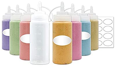 8-Pack Plastic Squeeze Squirt Bottles for Condiments with Attached Caps and Discrete Measurements,Ideal for Sauce, Ketchup, BBQ, Dressing, Paint, Workshop, Pancake Art, and More