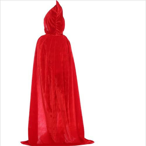 LPFNSF Capa de disfraz de vampiro para niños, capa de bruja con capucha, disfraz de Halloween Cosplay, negro y rojo, disfraz de carnaval, fiesta de carnaval (grande rojo, L)