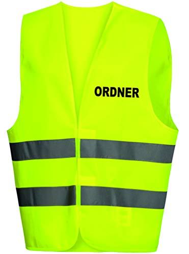 R&K Warnweste/Warnschutzweste/Securityweste gelb, BEDRUCKT auf BRUST und RÜCKEN mit ORDNER (schwarz)