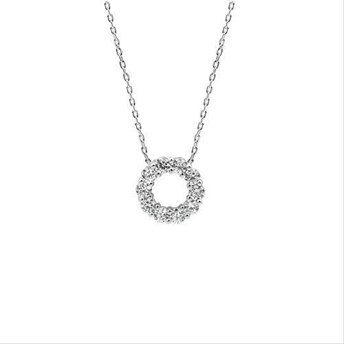 BEISUOSIBYW Co.,Ltd Collares de Plata Pura artículo de círculo de Diamante Puro Temperamento de otoño Mujeres Anillo de la Suerte Collar Cadena Cien baterías joyería de Personalidad Regalos