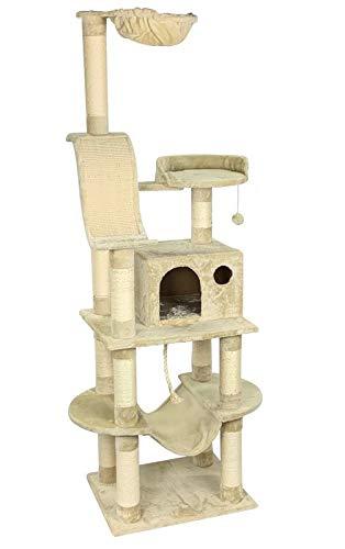animal-design Katzen-Kratzbaum XXL beige - Samy - mit gepolsterter Liegefläche, Liegemulde/Kuhle, großer Wohnhöhle, Hängematte, Sisal-Kratzfläche/Kratzbrett, Spielseil, Spielballmaus