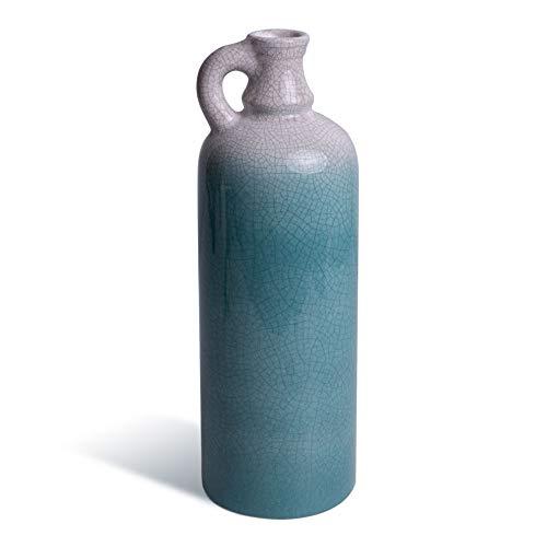 Bodenvase aus Keramik, 27cm groß, Vase als Frühlingsdeko für Garten, Balkon oder Bad. Die Vintage Deko fürs Wohnzimmer ist modern in weiß und blau