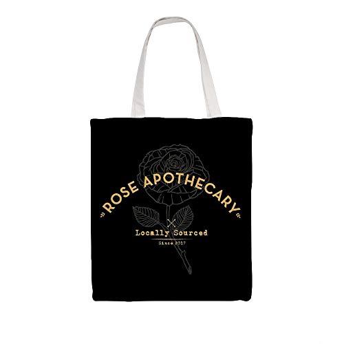 Great Martin - Bolsa de lona con diseño de rosas oscuras y boticario ecológico reutilizable para regalo de comestibles