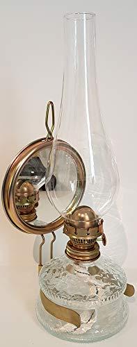 Oberstdorfer Glashütte Grosse Oellampe mit Spiegel antikes Design Petroleumlampe Tischlampe Wandlampe Gartenlampe Petroleumlampen Höhe ca. 35,5 cm