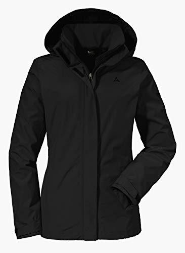 Schöffel Jacket Sevilla2, wind- und wasserdichte Outdoorjacke aus atmungsaktivem Material, leichte Regenjacke für Frauen Damen, black, 36
