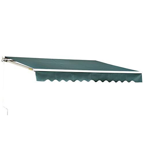 MCombo 10x8 Feet Manual Retractable Patio Door Window Awning Sunshade Shelter Outdoor Canopy (Green)