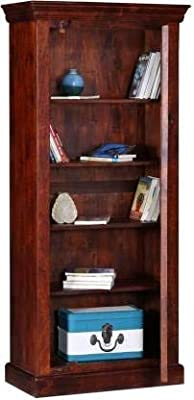 Furinno Mango Wood Multipurpose Storage Wardrobe Almirah Cabinet with 1 Door for Living Room Bedroom Wooden Bookshelf (Honey Finish)