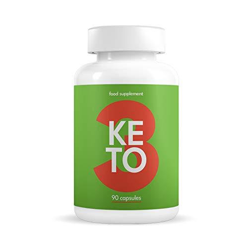 KETO 3 Quemagrasas Potente y Rápido - Pastillas para Adelgazar con Dieta Cetogénica sin Deporte para Mujeres y Hombres - Fat Burner & Detox - Contiene Garcinia, L-Carnitina, Cafeína - 90 Cápsulas