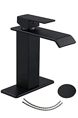 Homevacious Black Bathroom Faucet Sink Waterfall Single Handle With Pop Up Drain Lavatory Vanity Basin Vanity Mixer Tap One Hole Supply Line Long Spout With Overflow Lead-Free
