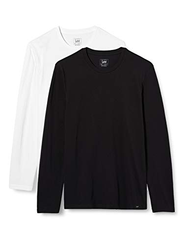 Lee Twin Pack Crew LS Camiseta, Negro Blanco, M para Hombre