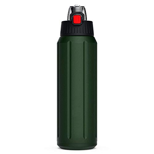 WJQ Edelstahl Sportflasche Tragbare Militär Green Cup Bouncing Cover Thermoskanne Outdoor-Produkte Sichere transparente Schlagfestigkeit Hohe Temperatur