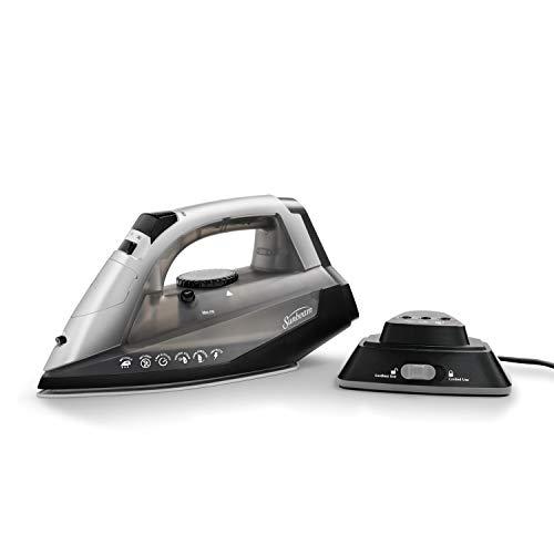 Sunbeam Corded or Cordless 1500-Watt Anti-Drip Ceramic Hybrid Clothes Steam Iron with Vertical Seam and Auto-Off Function (GCSBNC-200), Grey