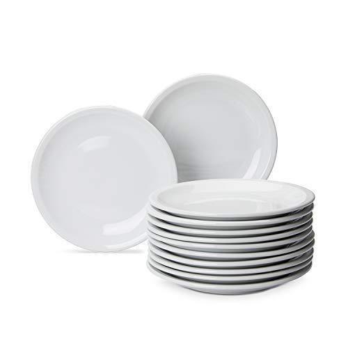 AmazonCommercial - Juego de 12 platos de postre de porcelana, 17,78cm, color blanco