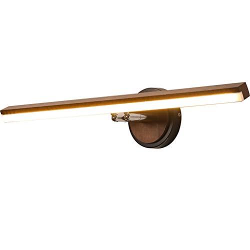 SOARLL- LED Badkamer Spiegel Voorlicht Moderne Minimalistische Walnoot Effen Houten Slaapkamer Badkamer Spiegelkast Wandlamp (60cm) [Energie Klasse A ++]