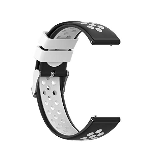 ANATYU is compatible with soft silicone smartwatch strap replacement strap, suitable for Willful SW021 ID205L IP68 smartwatch (Black and White) 1PACK