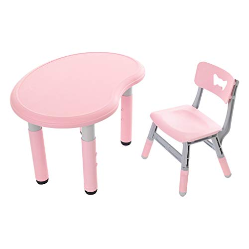 KIDTOY Kids Study Play Table and Chairs Set, Height Adjustable Children Desk with 1 Chair,Activity Toddler Furniture Gift for Boys & Girls (Pink)