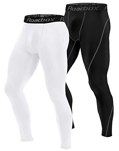 Roadbox 1 or 2 Pack Men's Compression Pants 2 Pack, Workout Warm Dry Cool Sports Leggings Tights Baselayer (Black, White, Large)