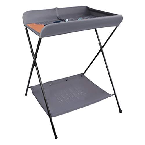 gris Table à langer pour bébé se pliant, Station de bain nouveau-né pour petit espace, Commode portable Bambin 0-3 ans, Pliable avec des sangles de sécurité