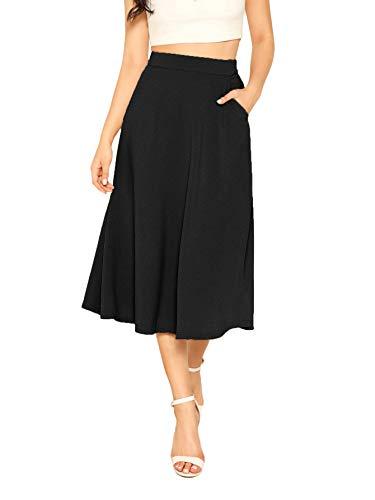 DIDK Damen Röcke Elegant Midirock A Linie Faltenrock Hohe Taille Retro Swing Rock mit Taschen Einfarbig Ausgestellt Locker Skirt Schwarz L